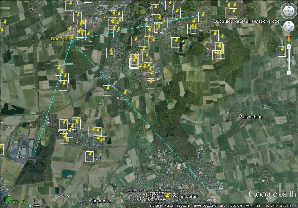 Usereinstieg mit 120° Sektorantenne und Hauptrichtung nach Wolfenbüttel